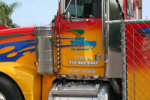 Semi truck signs lettering and graphics